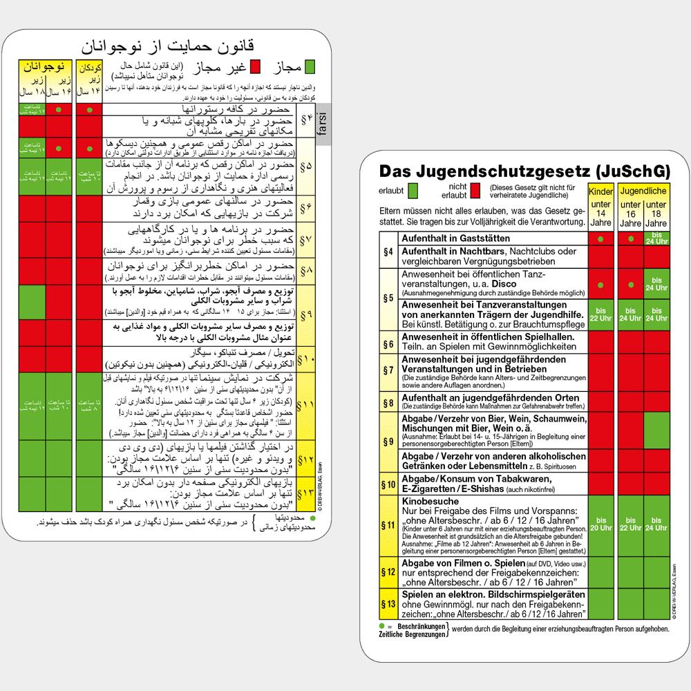 Aktionskarte Jugendschutztabelle in deutsch & farsi