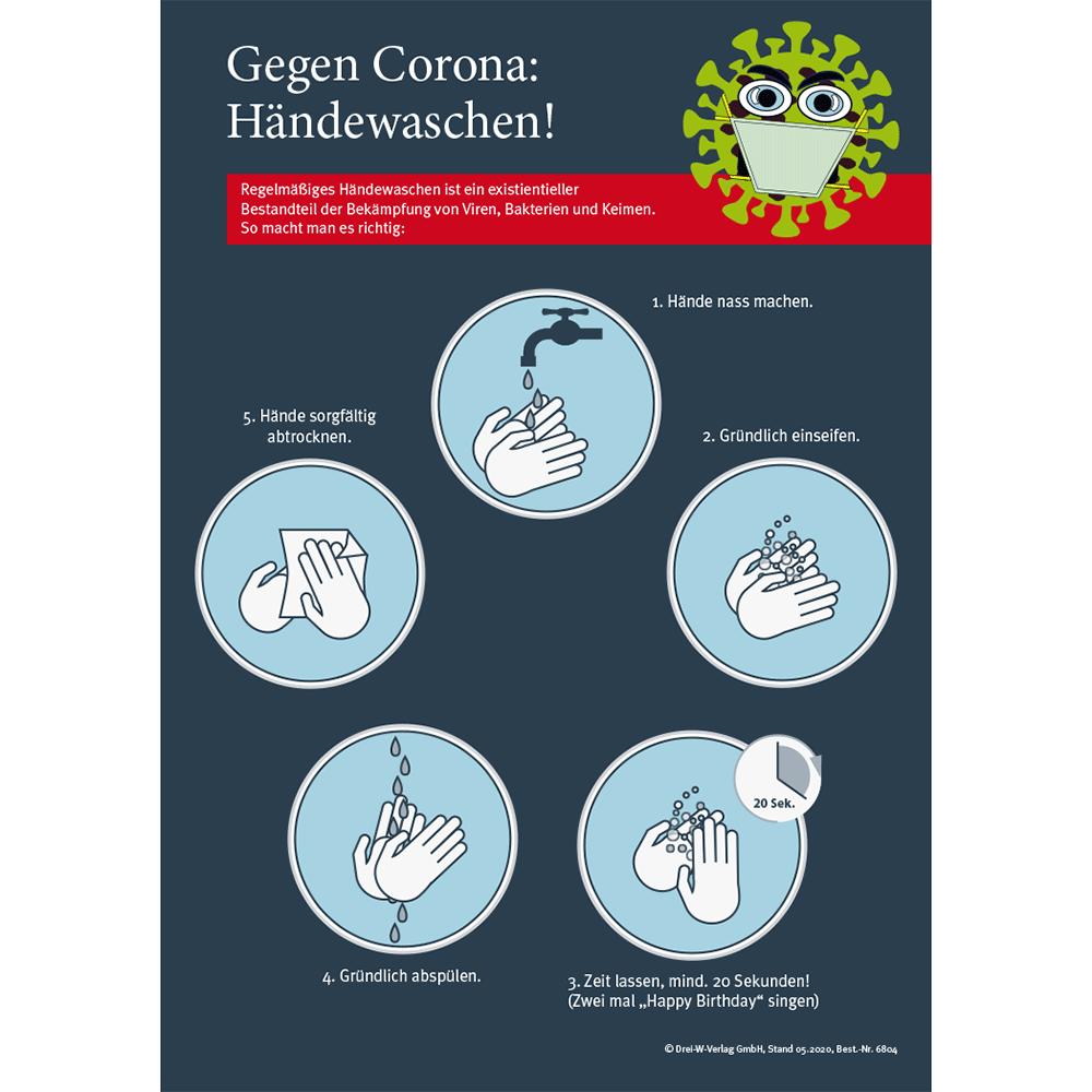 """Aushang (DIN-A4) • Corona Aushang """"Richtig Hände waschen"""""""